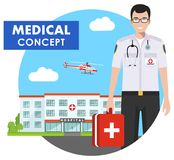 Medical concept. Detailed illustration of emergency doctor man in uniform on background with hospital and flying helicopter in fla Royalty Free Stock Photography
