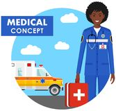 Medical concept. Detailed illustration of emergency doctor woman in uniform on background with ambulance car in flat style. Vector Stock Photography