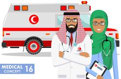 Medical concept. Detailed illustration of muslim arabian paramedic man, emergency doctor, nurse and ambulance car in flat style on. Detailed illustration muslim Stock Photos