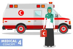 Medical concept. Detailed illustration of muslim arabic emergency doctor woman and ambulance car in flat style on white Royalty Free Stock Photography