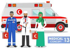 Medical concept. Detailed illustration of muslim paramedic man, emergency doctor, nurse and ambulance car in flat style on white b Royalty Free Stock Photos