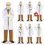 Medical concept. Detailed illustration of old american european doctors in flat style isolated on white background. Practitioner d. Detailed illustration of old Stock Photo