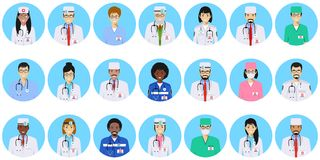 Medical concept. Different doctors, nurses characters avatars icons set in flat style isolated on blue background. Medical concept. Set of colorful medical staff Royalty Free Stock Images