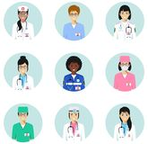 Medical concept. Different doctors, nurses characters avatars icons set in flat style isolated. Differences medical. Medical concept. Set of colorful medical vector illustration