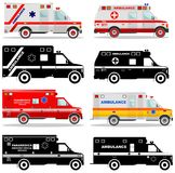 Medical concept. Different kind car ambulances isolated on white background in flat style: colored and black silhouette. Vector il Stock Photo
