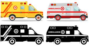 Medical concept. Different kind jewish car ambulances isolated on white background in flat style: colored and black. Detailed illustration of colored and black Royalty Free Stock Images