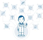 Medical concept with doctor and icons Stock Photos