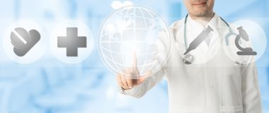 Doctor Points at Copy Space with Medical Icons. Medical Concept - Doctor points at copy space with icons showing symbol of research innovation for healthcare vector illustration
