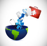 Medical concept globe illustration design Stock Photography