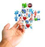 Medical concept. Hand and medical icons Royalty Free Stock Photography