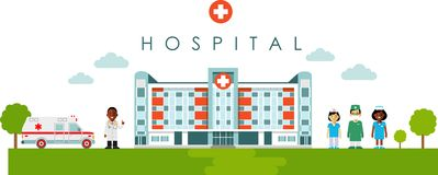 Medical concept with hospital building and african american doctor in flat style Stock Photo