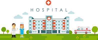 Medical concept with hospital building and doctor in flat style. Panoramic background with hospital building, doctor, nurse and ambulance car in flat style Stock Images