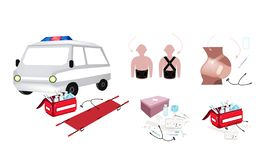 Ambulance and First Aid Box with Medical Supplies. Medical Concept, Illustration of Ambulance and First Aid Box Filled with Medical Supplies for Emergencies vector illustration