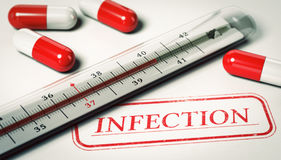 Medical Concept, Infection and high temperature Royalty Free Stock Photos
