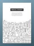 Medical Concept - line design brochure poster template A4 Stock Photos