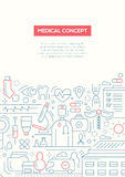 Medical Concept - line design brochure poster template A4 Stock Images