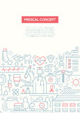 Medical Concept - line design brochure poster template A4 Royalty Free Stock Images