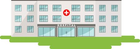 Medical concept. Panoramic background with hospital building Royalty Free Stock Photos