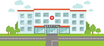 Medical concept. Panoramic background with hospital building in flat style. Royalty Free Stock Image