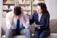 The medical concept with psychologist visit Stock Photography