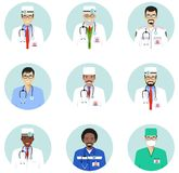 Medical concept. Different doctors, nurses characters avatars icons set in flat style isolated. Differences medical. Medical concept. Set of colorful medical royalty free illustration