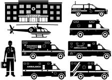 Medical concept. Set of different silhouettes ambulance cars, hospital, emergency doctor man and helicopter  on white back Stock Image