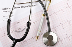 Medical concept with stethoscope and cardiogram Stock Photography