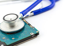 Medical concept, stethoscope with computer hdd Stock Images