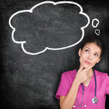 Medical concept - thinking nurse doctor blackboard Royalty Free Stock Image