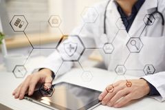 Medical concept on virtual screen. Healthcare. Online medical consultation and health check, EMR, EHR. Royalty Free Stock Images