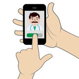 Medical consultation concept. Hand holding smartphone to call the doctor royalty free illustration