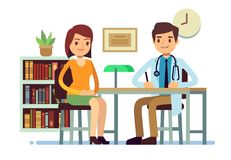 Medical consultation with doctor and young woman patient vector medicine flat concept. Patient woman and young doctor character illustration stock illustration