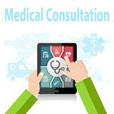 Medical Consultation Online Doctor Apps on mobile device Royalty Free Stock Images
