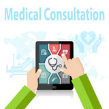 Medical Consultation Online Doctor Apps on mobile device Stock Images