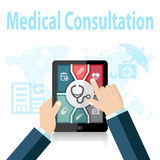 Medical Consultation Online Doctor Apps on mobile device Royalty Free Stock Photo