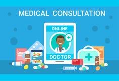 Medical Consultation Online Doctor Health Care Clinics Hospital Service Medicine Banner. Flat Vector Illustration royalty free illustration