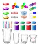 Medical container and medicine Royalty Free Stock Image