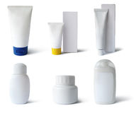 Medical, cosmetics packs, path. Cosmetics packs and containers: tubes, boxes, flacks. Add text or label. Isolated, clipping path, shadow Stock Images