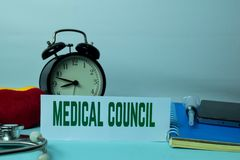 Medical Council Planning on Background of Working Table with Office Supplies. stock images