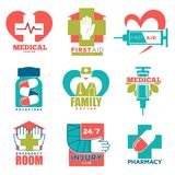 Medical cross and heart vector icons for first aid medicine or doctor hospital center. Medical cross and heart vector logo templates for first aid medicine or Royalty Free Stock Image
