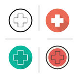 Medical cross icon. Flat design, linear and color styles. Emergency and ambulance symbol. Isolated vector illustrations Stock Image