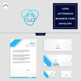 Medical cross logo template and free letterhead, envelope, business card. Medical cross logo template vector illustration and free letterhead, envelope, business royalty free illustration