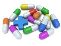 Medical cross and pale of pills 3d Royalty Free Stock Photography