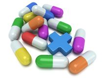 Medical cross and pale of pills 3d Stock Photo