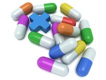 Medical cross and pale of pills 3d Stock Photos