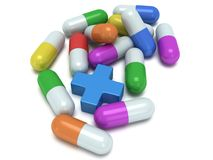 Medical cross and pale of pills 3d Royalty Free Stock Photo
