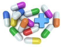 Medical cross and pale of pills 3d Royalty Free Stock Photos