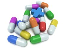 Medical cross and pale of pills 3d Royalty Free Stock Images