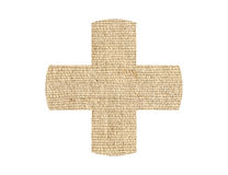 Medical cross patch burlap texture isolated on white Stock Images