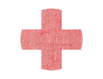 Medical cross patch burlap texture isolated on white Royalty Free Stock Images